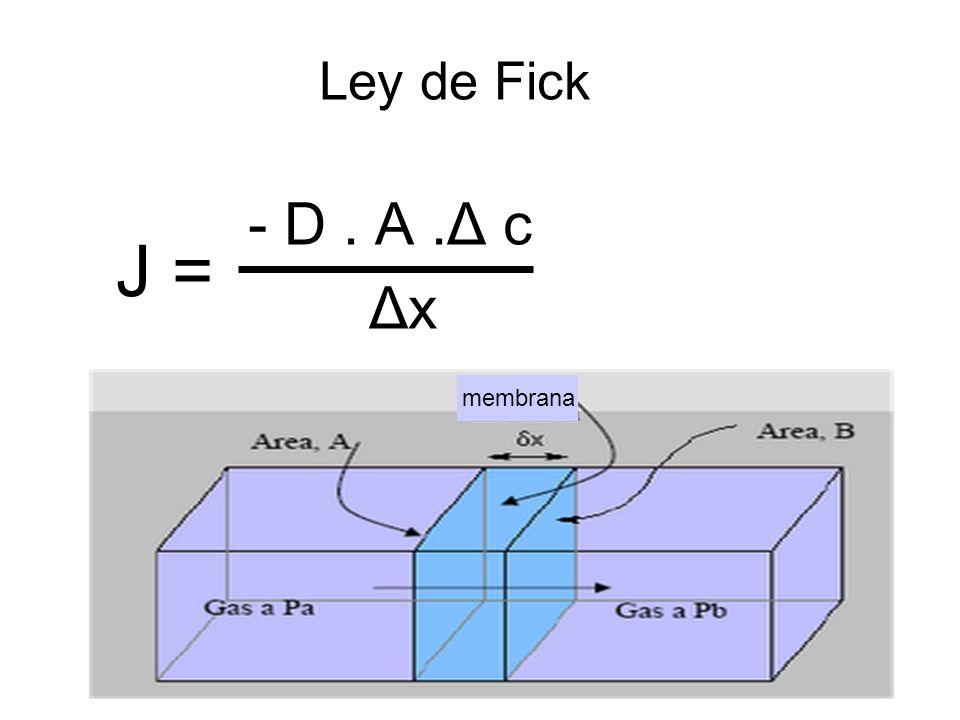 Ley de Fick - D . A .Δ c Δx J = membrana