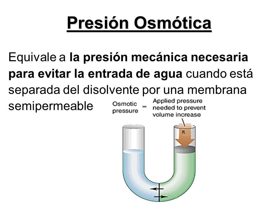 Presión Osmótica Equivale a la presión mecánica necesaria