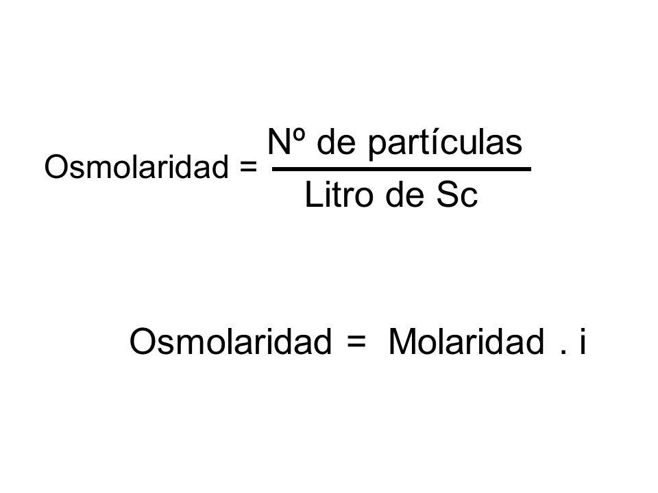 Nº de partículas Litro de Sc Osmolaridad = Molaridad . i Osmolaridad =