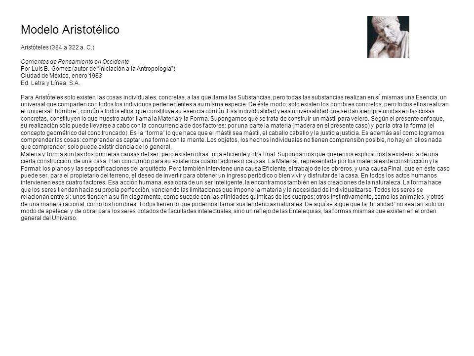 Modelo Aristotélico Aristóteles (384 a 322 a. C.)