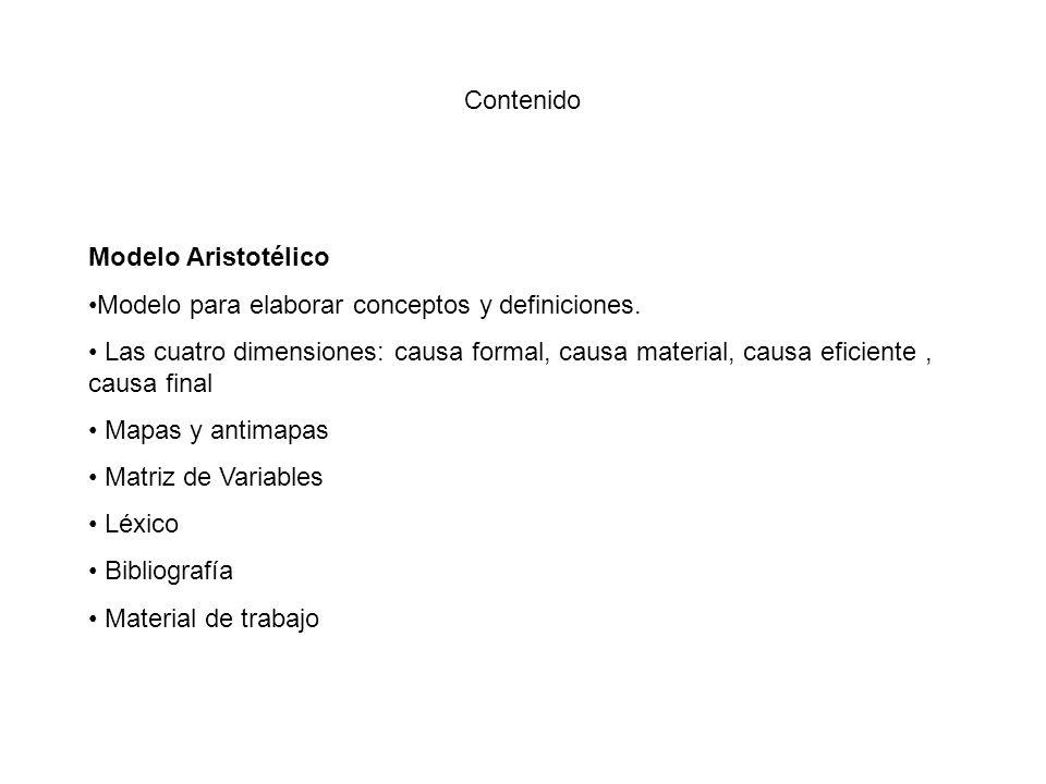 Contenido Modelo Aristotélico. Modelo para elaborar conceptos y definiciones.