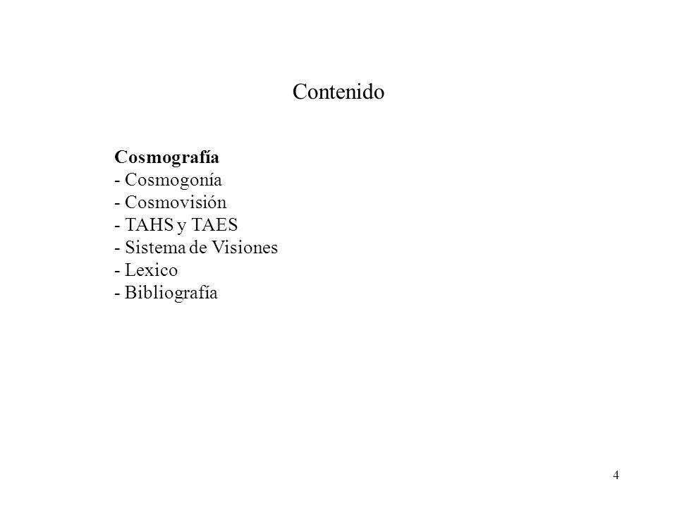 Contenido Cosmografía - Cosmogonía - Cosmovisión - TAHS y TAES
