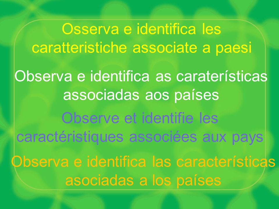 Osserva e identifica les caratteristiche associate a paesi