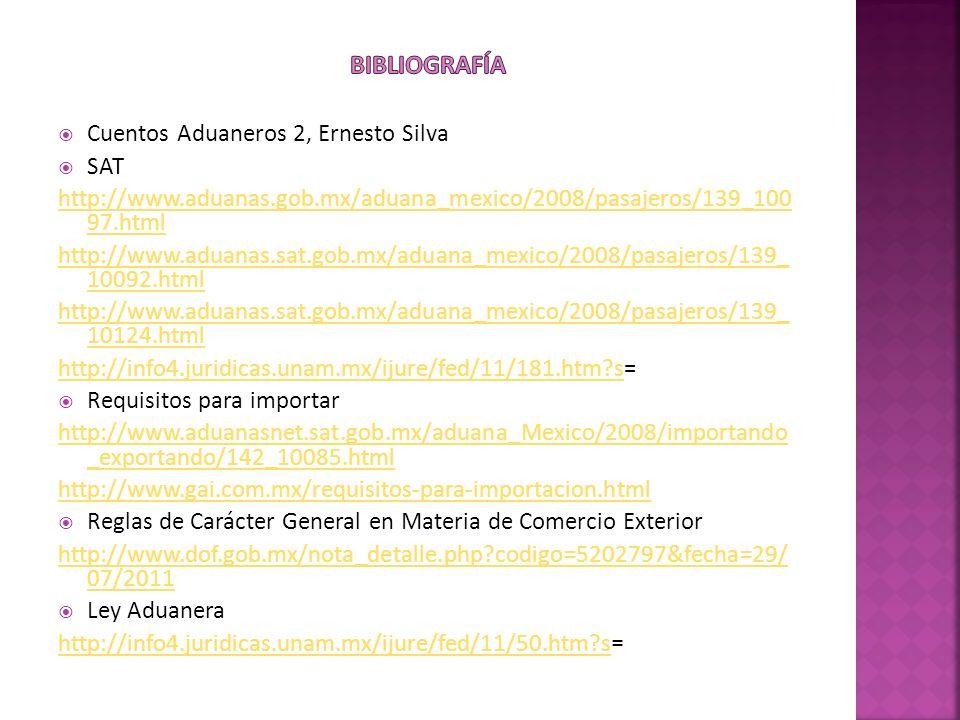 Bibliografía Cuentos Aduaneros 2, Ernesto Silva SAT