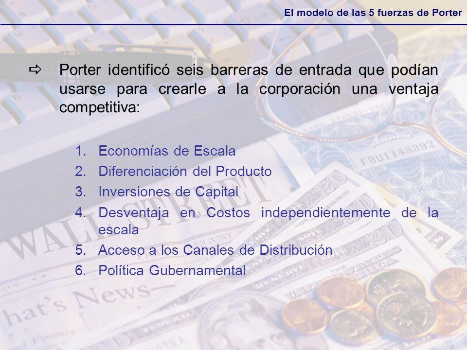 Porter identificó seis barreras de entrada que podían usarse para crearle a la corporación una ventaja competitiva: