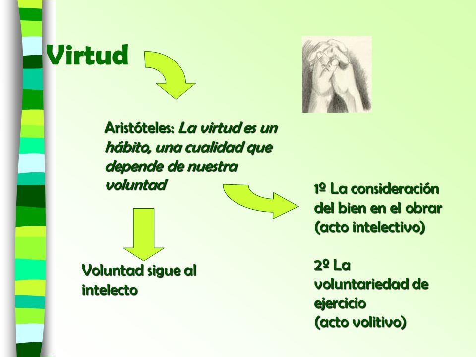 VirtudAristóteles: La virtud es un hábito, una cualidad que depende de nuestra voluntad. 1º La consideración del bien en el obrar (acto intelectivo)