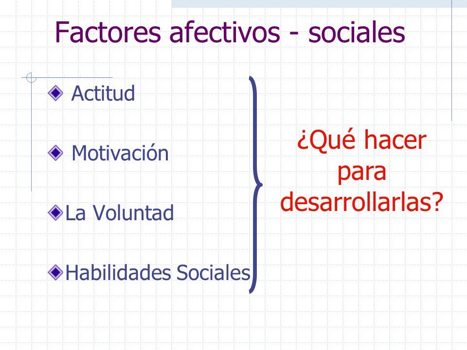 Factores afectivos - sociales