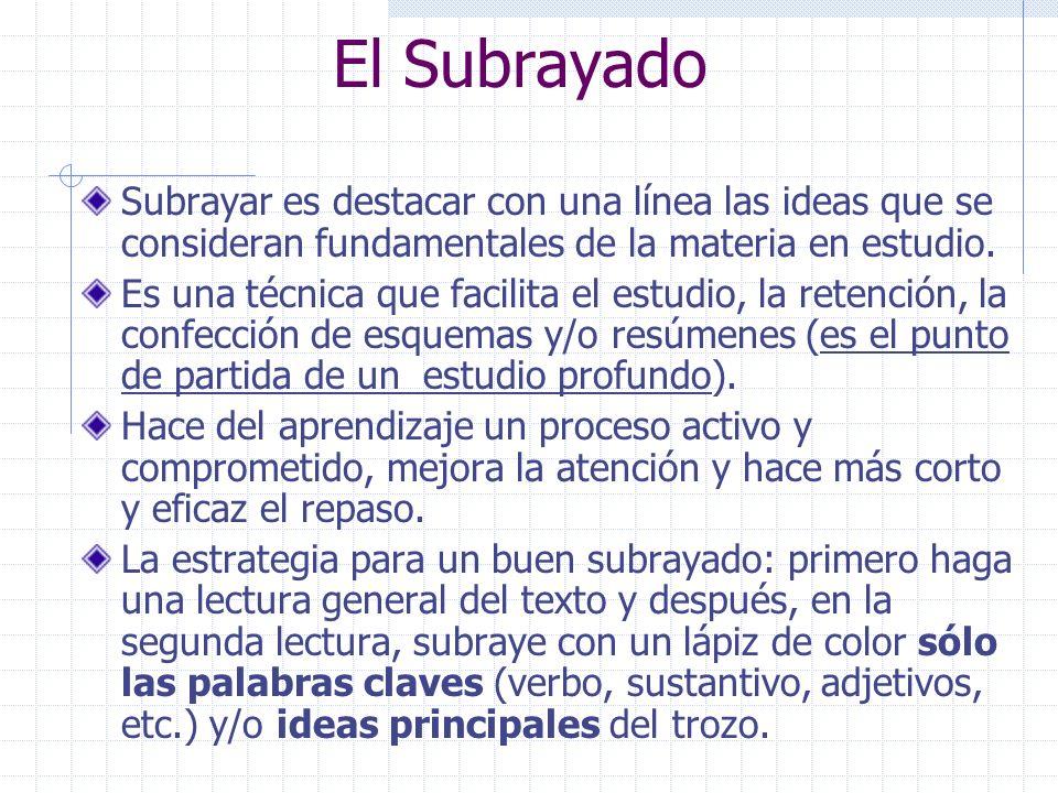 El Subrayado Subrayar es destacar con una línea las ideas que se consideran fundamentales de la materia en estudio.