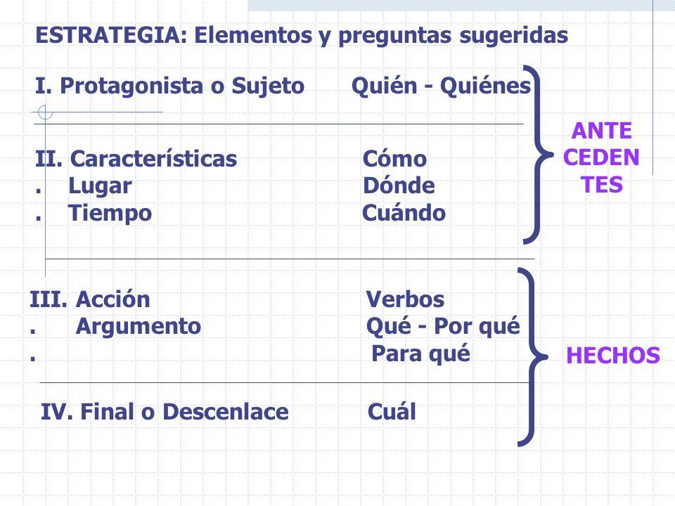 ESTRATEGIA: Elementos y preguntas sugeridas