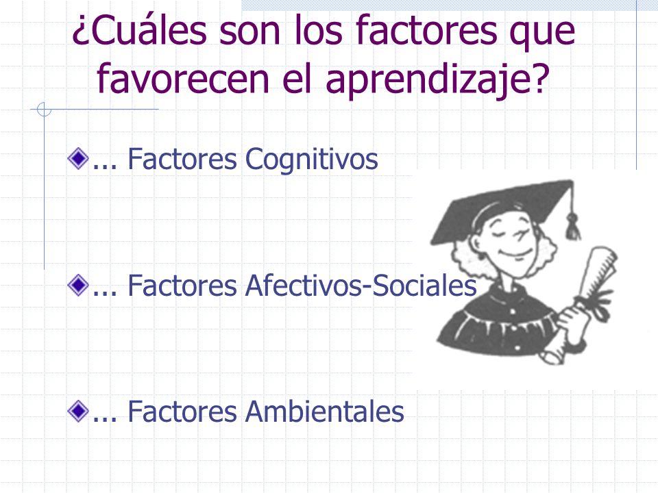 ¿Cuáles son los factores que favorecen el aprendizaje