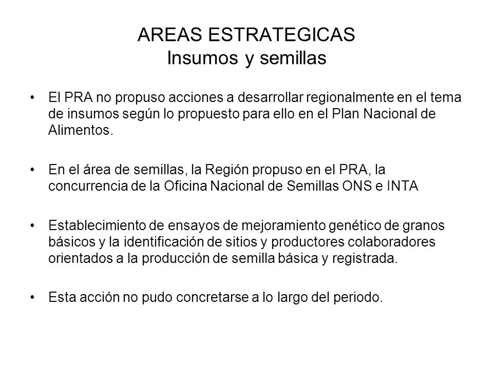 AREAS ESTRATEGICAS Insumos y semillas