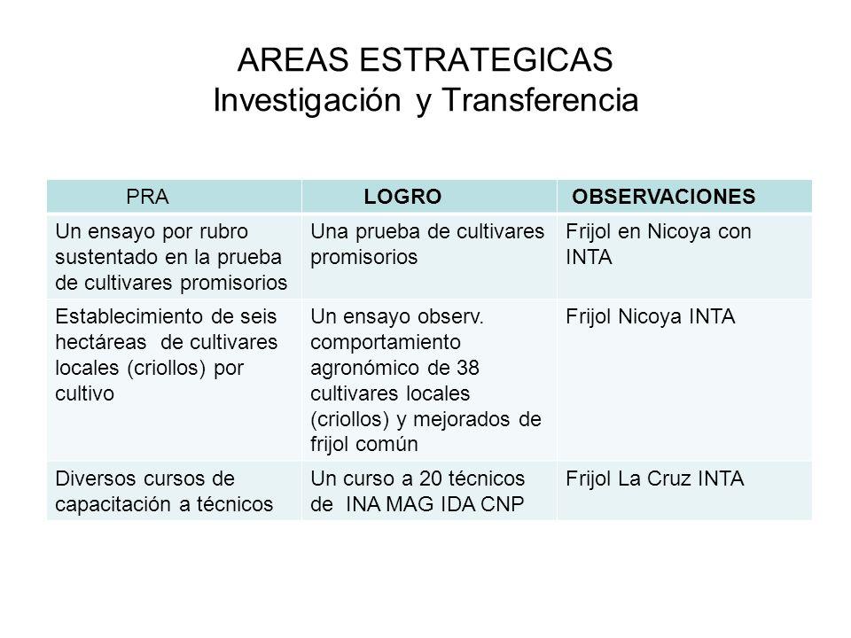 AREAS ESTRATEGICAS Investigación y Transferencia