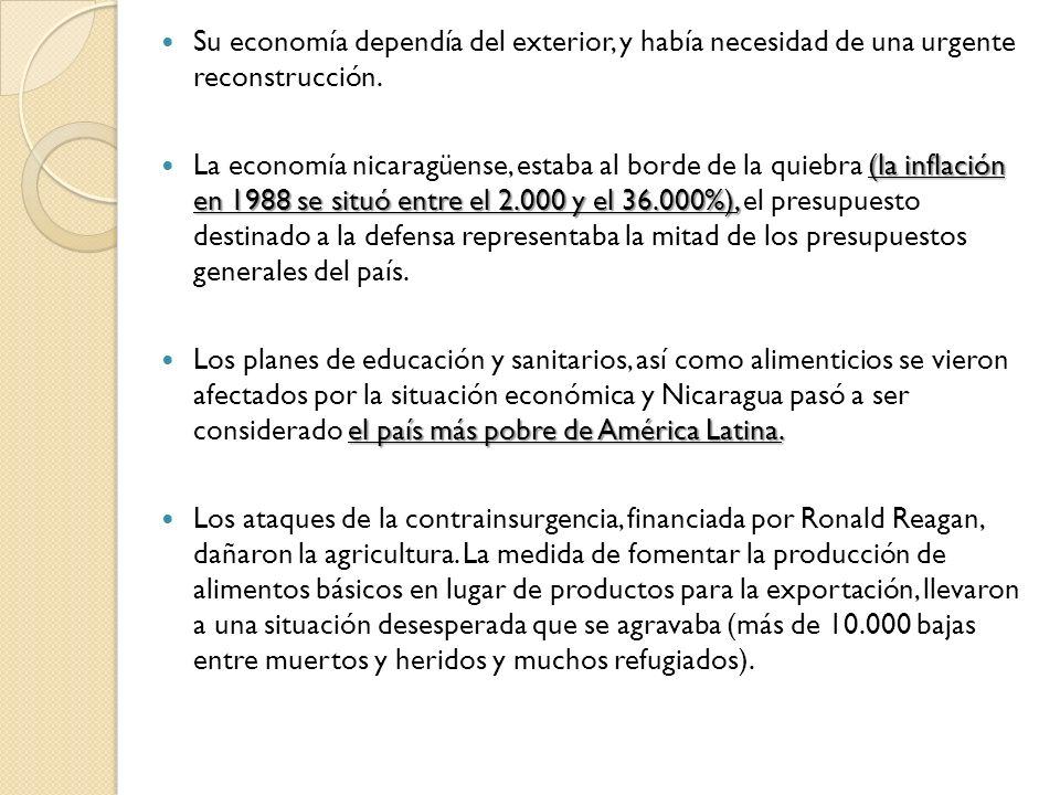 Su economía dependía del exterior, y había necesidad de una urgente reconstrucción.