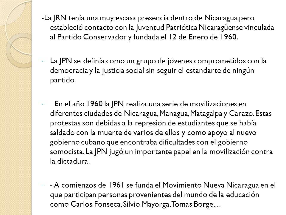 -La JRN tenía una muy escasa presencia dentro de Nicaragua pero estableció contacto con la Juventud Patriótica Nicaragüense vinculada al Partido Conservador y fundada el 12 de Enero de 1960.