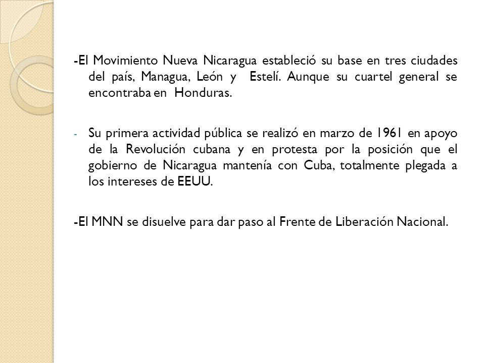 -El Movimiento Nueva Nicaragua estableció su base en tres ciudades del país, Managua, León y Estelí. Aunque su cuartel general se encontraba en Honduras.