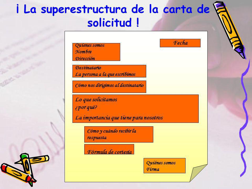 ¡ La superestructura de la carta de solicitud !