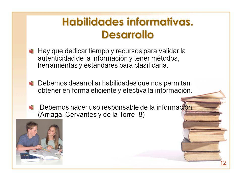 Habilidades informativas. Desarrollo