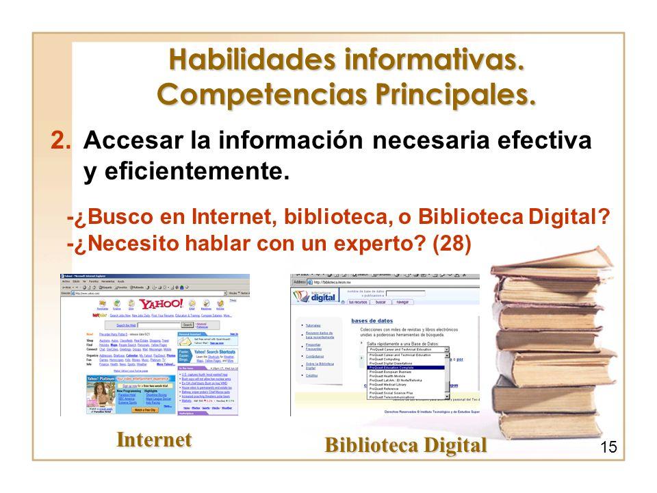 Habilidades informativas. Competencias Principales.