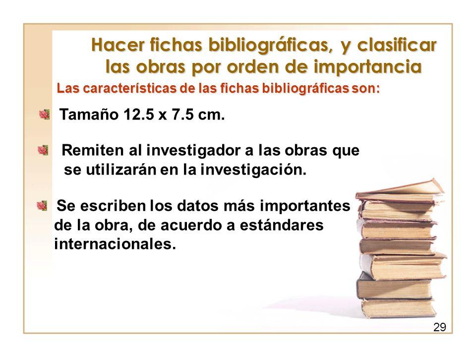 Hacer fichas bibliográficas, y clasificar las obras por orden de importancia
