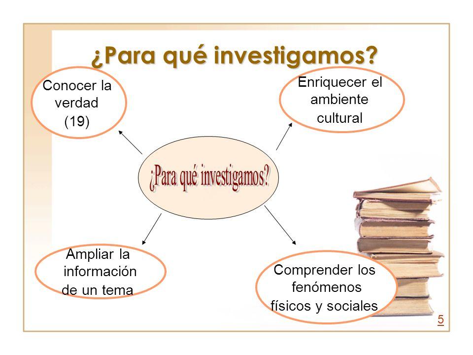 ¿Para qué investigamos