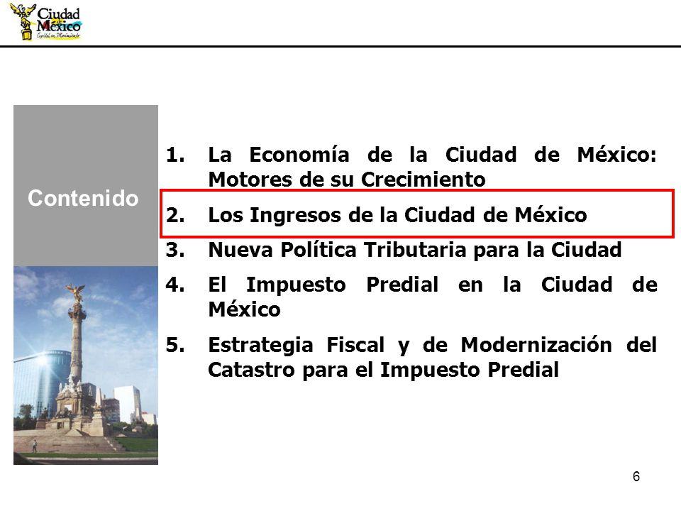 Contenido La Economía de la Ciudad de México: Motores de su Crecimiento. Los Ingresos de la Ciudad de México.