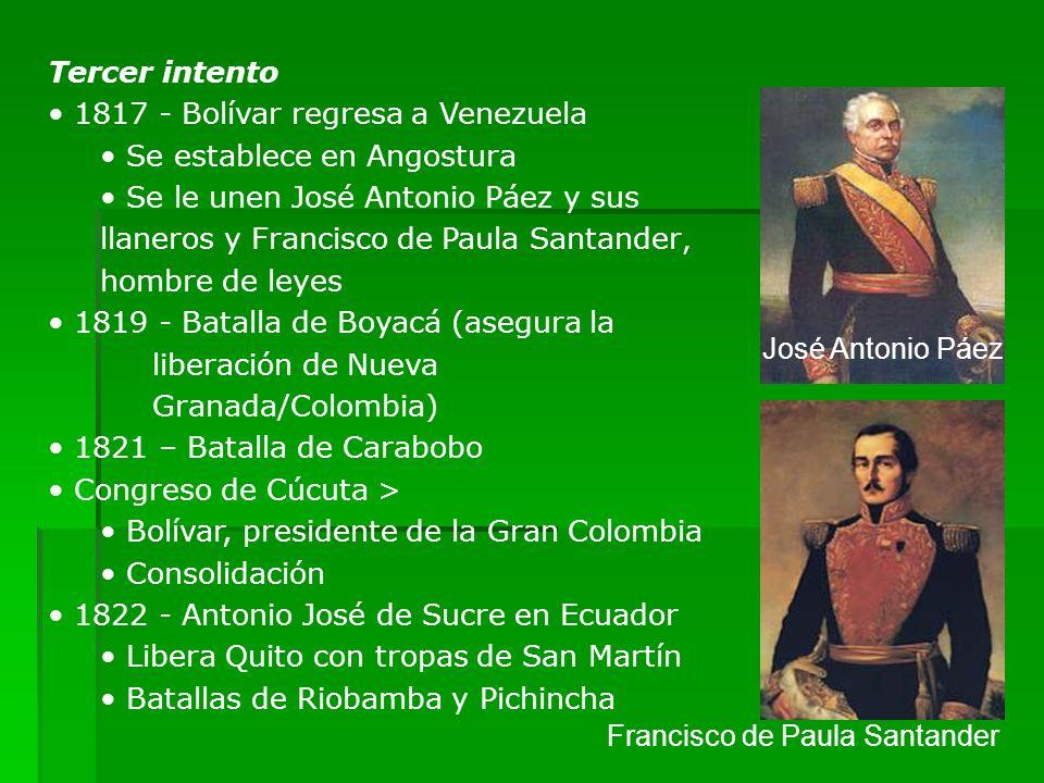 Tercer intento1817 - Bolívar regresa a Venezuela. Se establece en Angostura.