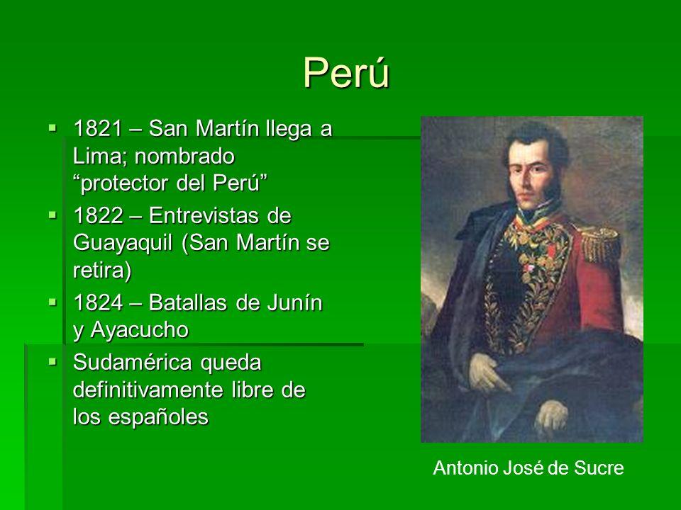 Perú 1821 – San Martín llega a Lima; nombrado protector del Perú