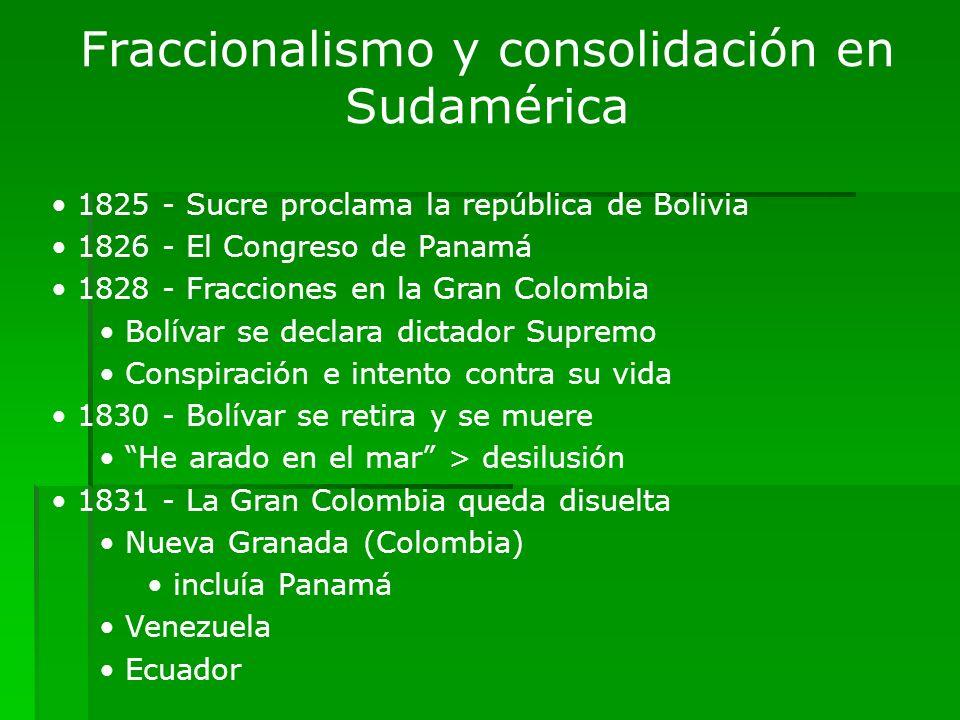 Fraccionalismo y consolidación en Sudamérica