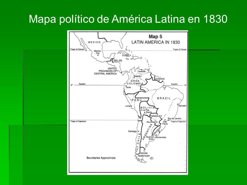 Mapa político de América Latina en 1830