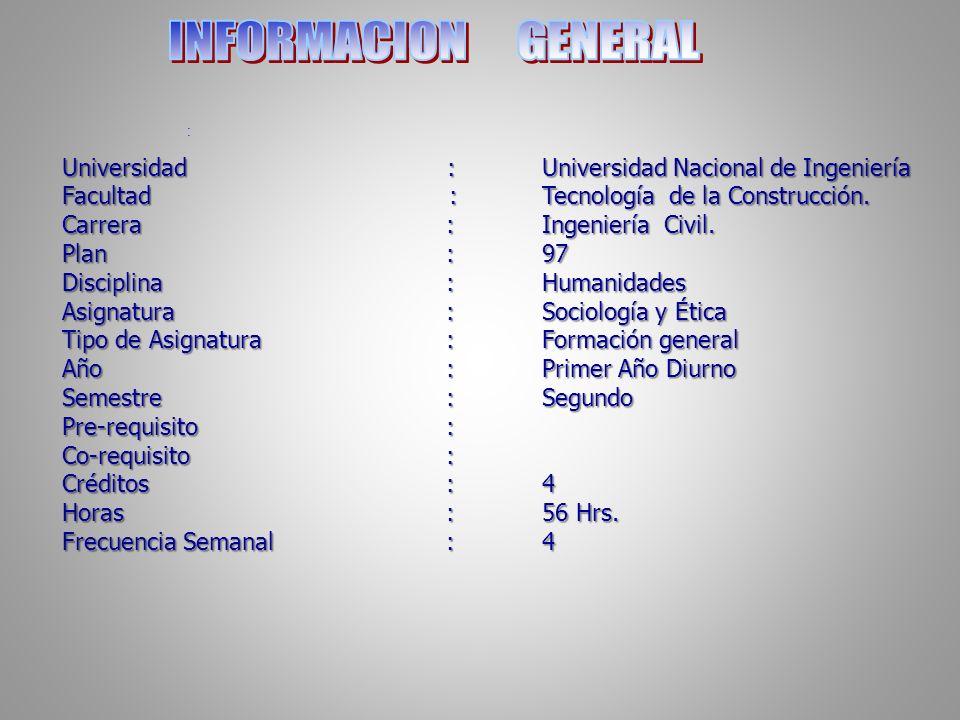INFORMACION GENERAL Universidad : Universidad Nacional de Ingeniería