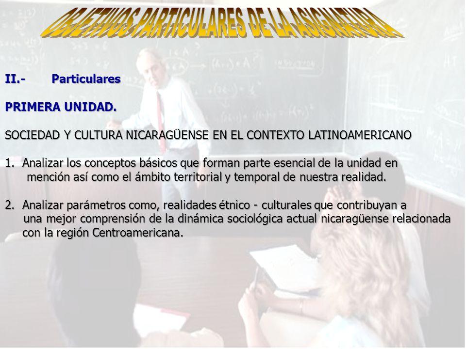 OBJETIVOS PARTICULARES DE LA ASIGNATURA
