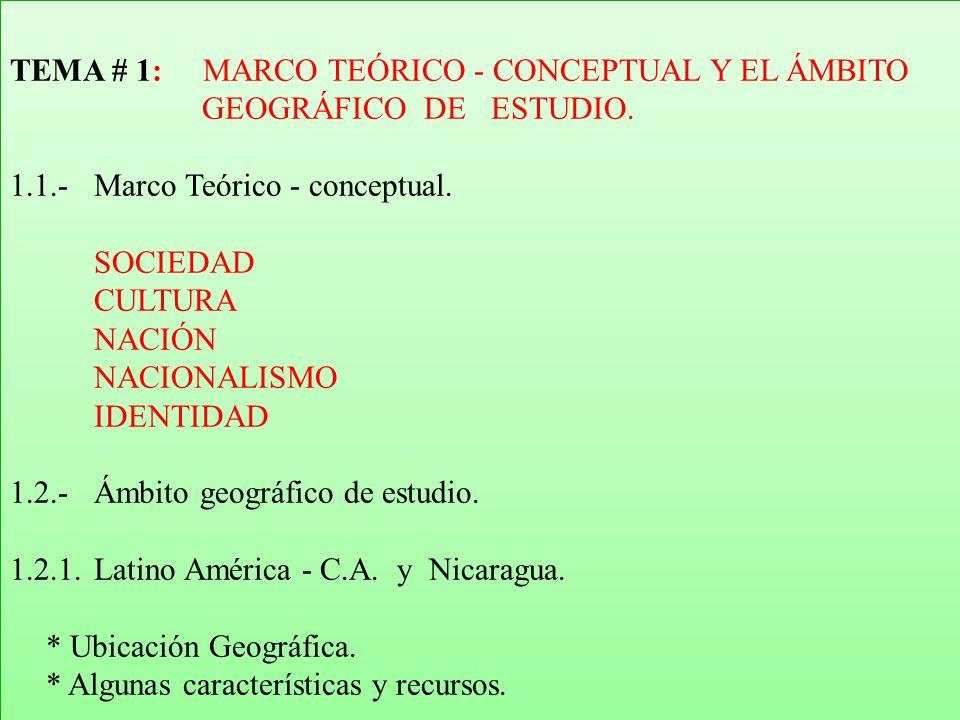 TEMA # 1: MARCO TEÓRICO - CONCEPTUAL Y EL ÁMBITO