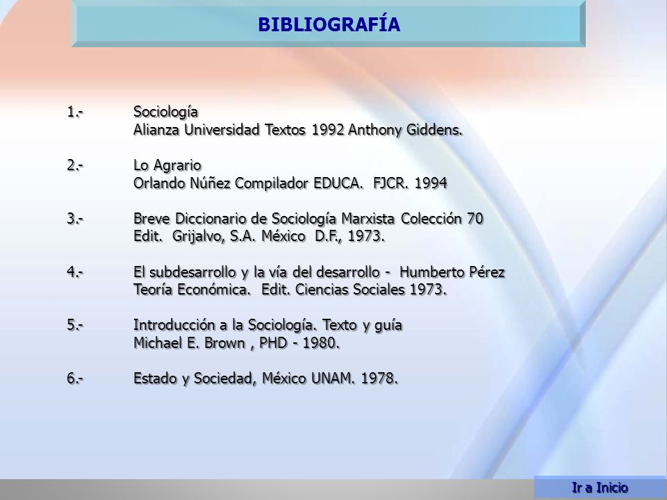 PLAN TEMÁTICO BIBLIOGRAFÍA 1.- Sociología