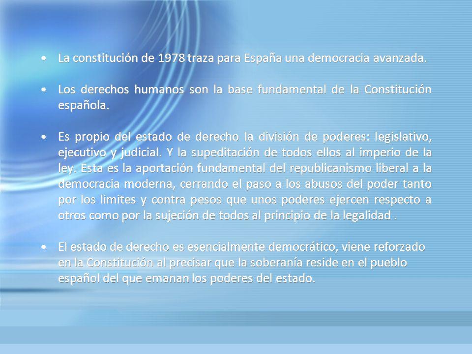 La constitución de 1978 traza para España una democracia avanzada.