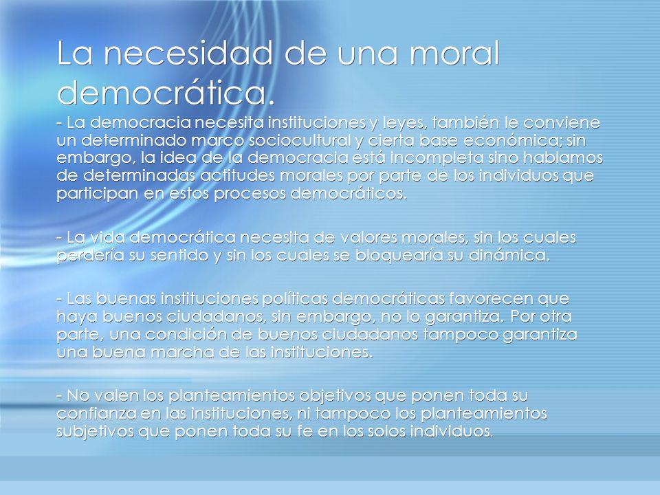La necesidad de una moral democrática.
