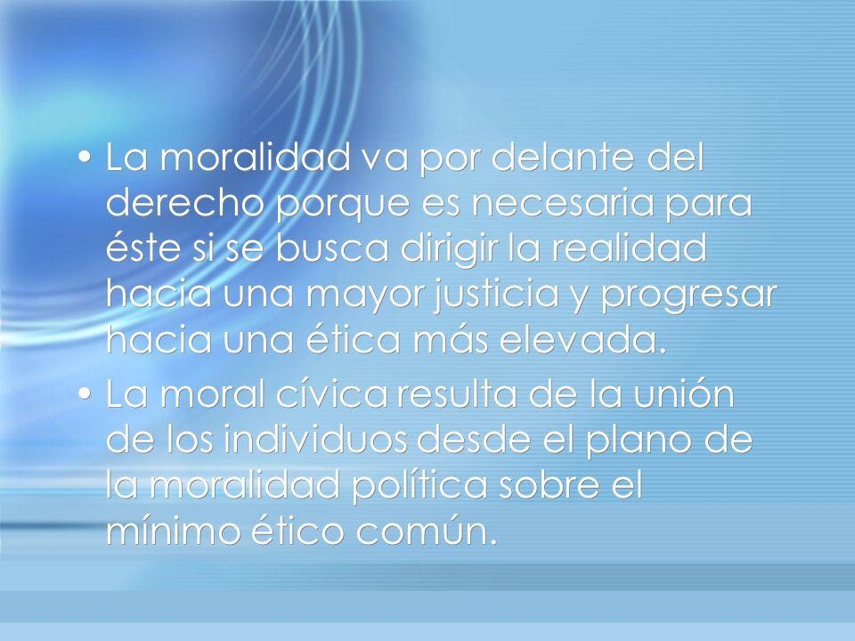 La moralidad va por delante del derecho porque es necesaria para éste si se busca dirigir la realidad hacia una mayor justicia y progresar hacia una ética más elevada.