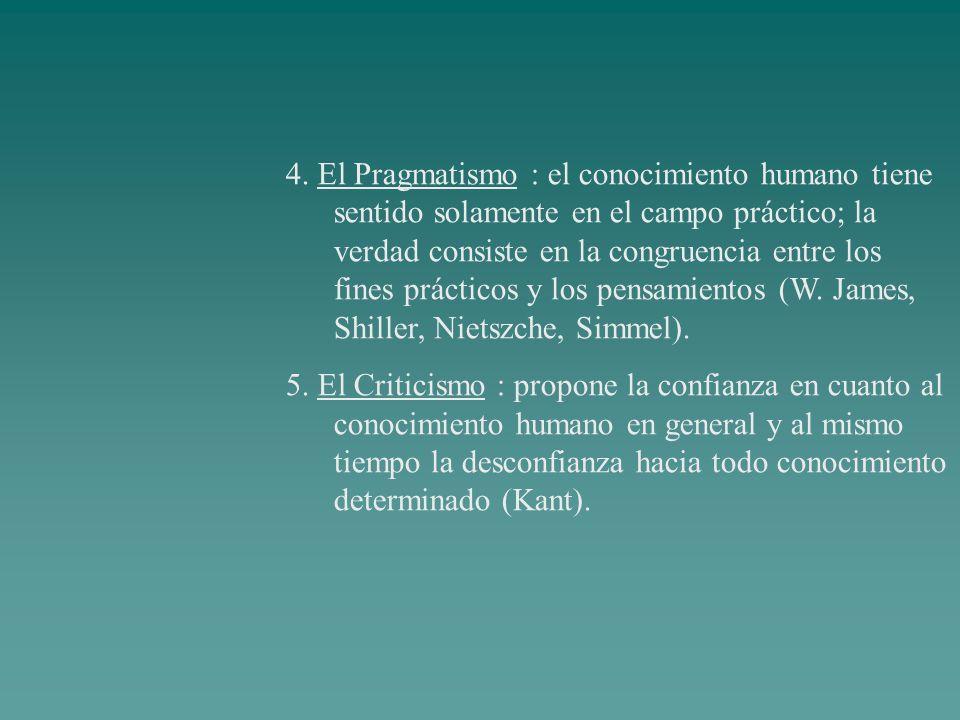 4. El Pragmatismo : el conocimiento humano tiene sentido solamente en el campo práctico; la verdad consiste en la congruencia entre los fines prácticos y los pensamientos (W. James, Shiller, Nietszche, Simmel).