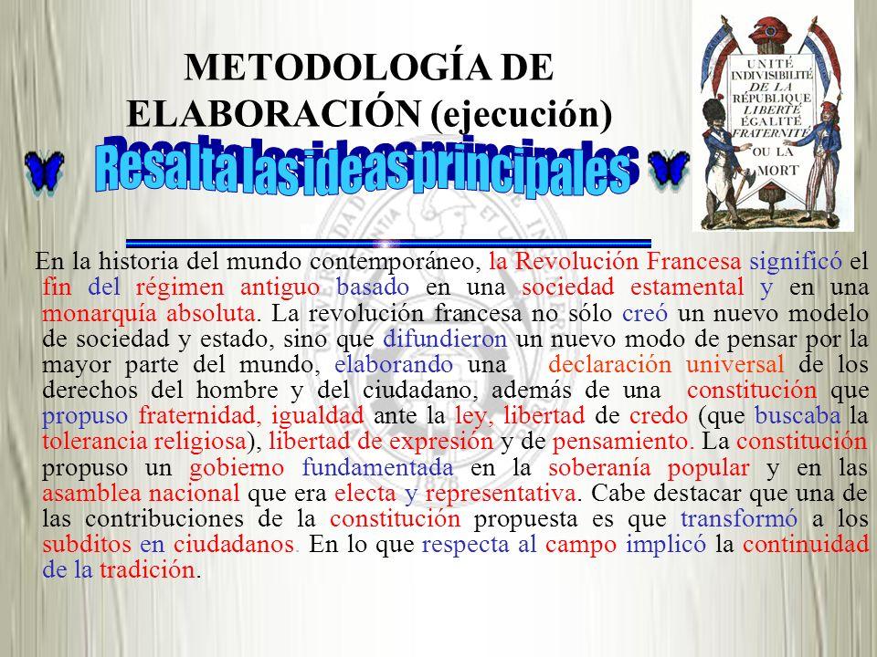METODOLOGÍA DE ELABORACIÓN (ejecución)