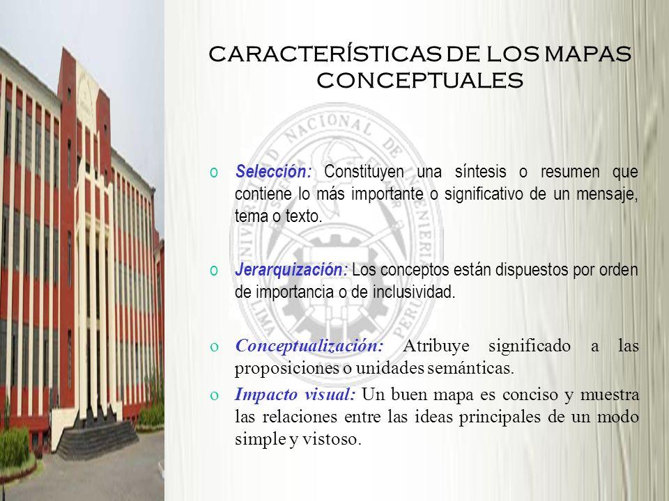 CARACTERÍSTICAS DE LOS MAPAS CONCEPTUALES