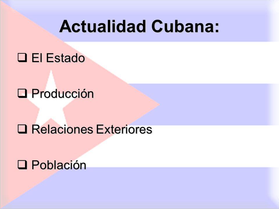 Actualidad Cubana: El Estado Producción Relaciones Exteriores
