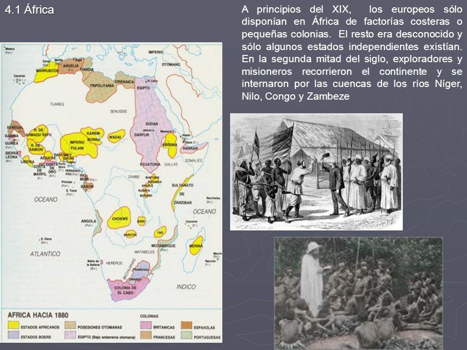 A principios del XIX, los europeos sólo disponían en África de factorías costeras o pequeñas colonias. El resto era desconocido y sólo algunos estados independientes existían. En la segunda mitad del siglo, exploradores y misioneros recorrieron el continente y se internaron por las cuencas de los ríos Níger, Nilo, Congo y Zambeze