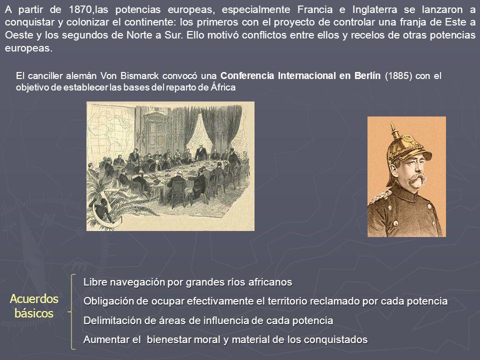 A partir de 1870,las potencias europeas, especialmente Francia e Inglaterra se lanzaron a conquistar y colonizar el continente: los primeros con el proyecto de controlar una franja de Este a Oeste y los segundos de Norte a Sur. Ello motivó conflictos entre ellos y recelos de otras potencias europeas.