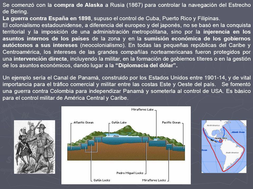 Se comenzó con la compra de Alaska a Rusia (1867) para controlar la navegación del Estrecho de Bering.