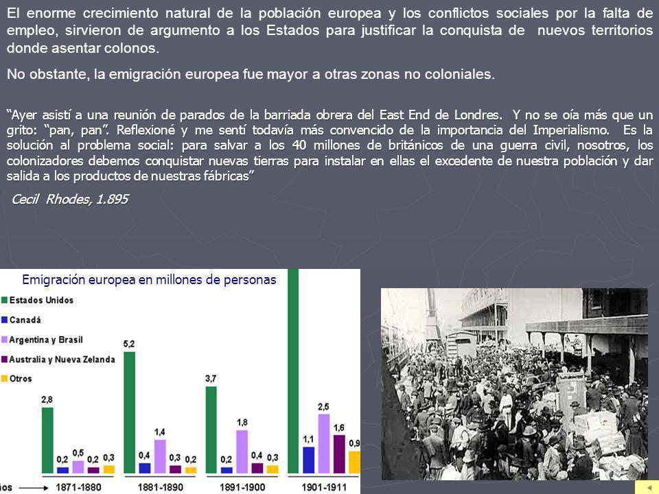 El enorme crecimiento natural de la población europea y los conflictos sociales por la falta de empleo, sirvieron de argumento a los Estados para justificar la conquista de nuevos territorios donde asentar colonos.