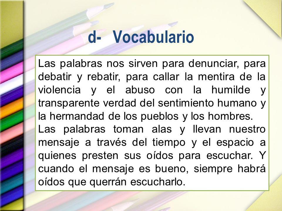 d- Vocabulario