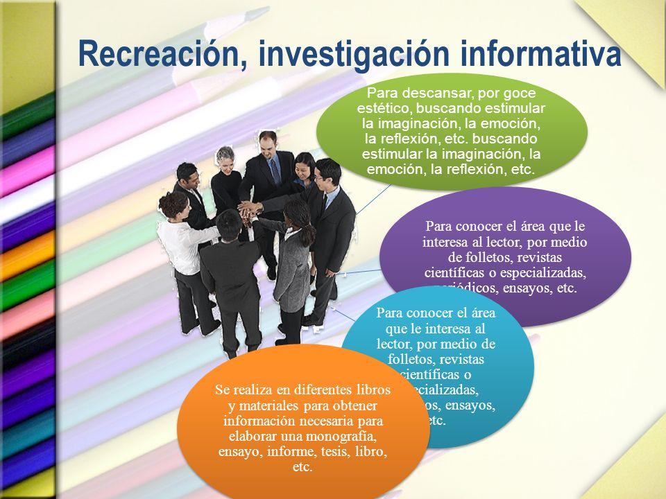 Recreación, investigación informativa
