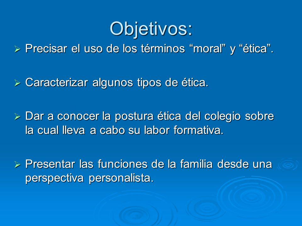 Objetivos: Precisar el uso de los términos moral y ética .