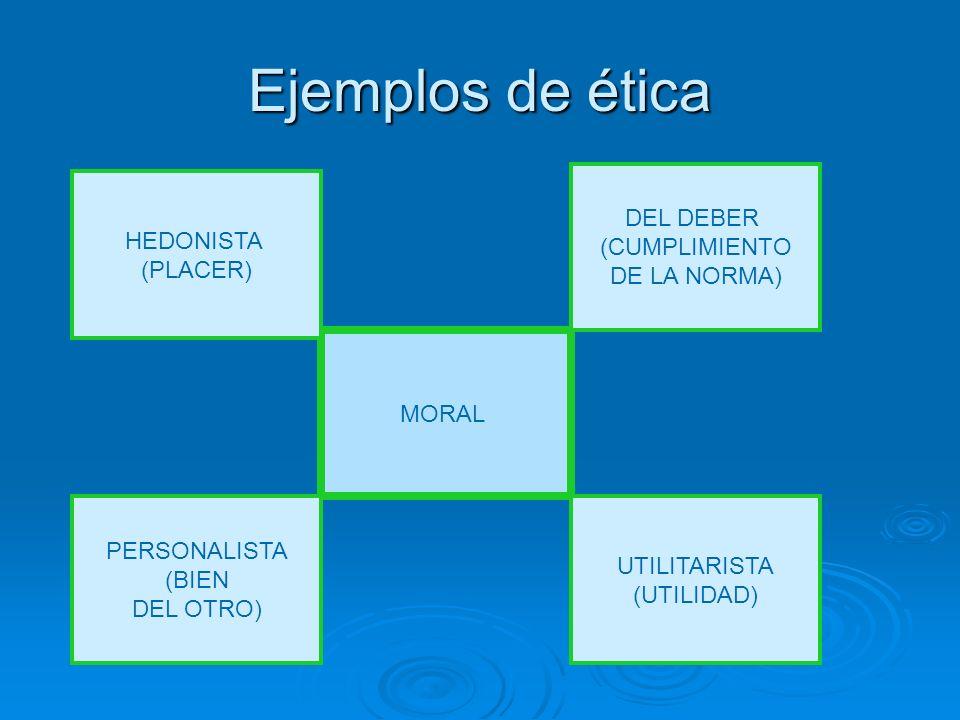 Ejemplos de ética DEL DEBER (CUMPLIMIENTO DE LA NORMA) HEDONISTA