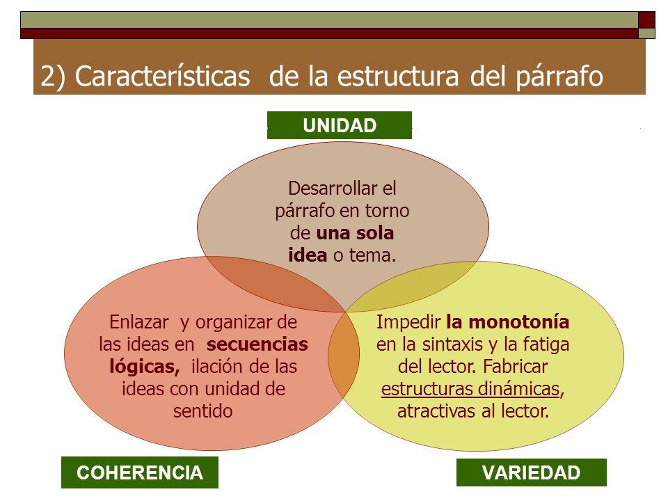 2) Características de la estructura del párrafo