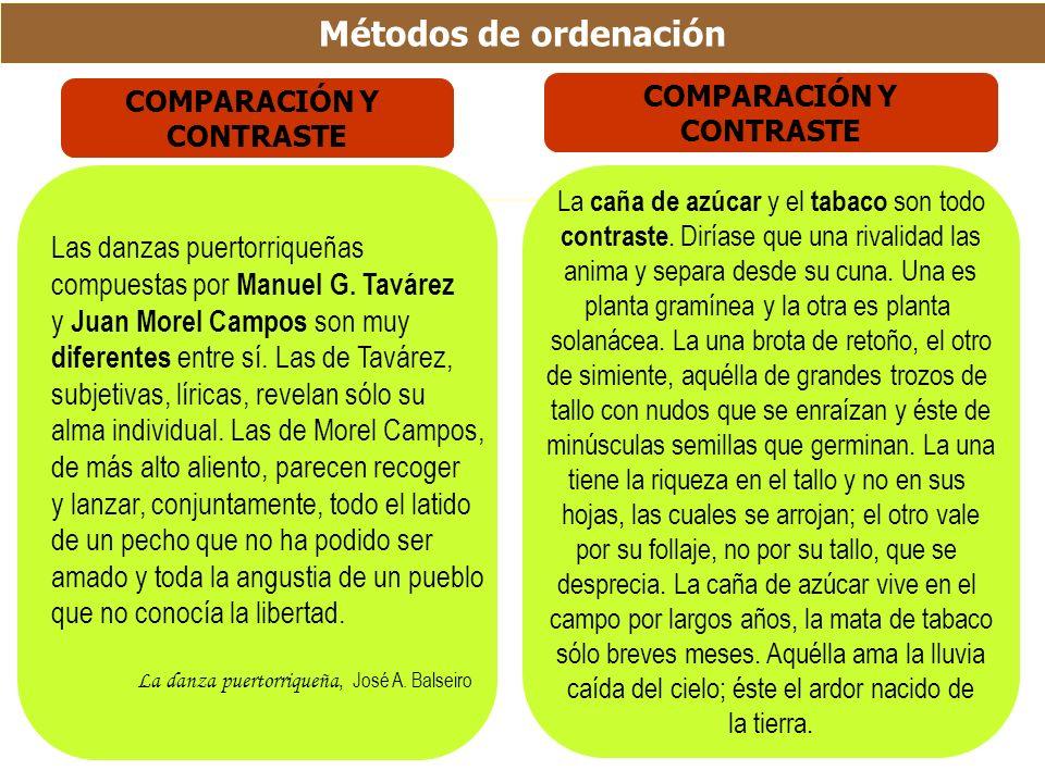 Métodos de ordenación Las danzas puertorriqueñas